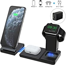 Hoidokly 3 in 1 Wireless Charger Stand Qi Fast Charging Station for Apple Watch AirPods Pro/2 Detachable and Magnetic Charging Dock for iPhone SE 2020/11 Pro Max/XR/XS/X/8/8 Plus(with QC3.0 Adapter)