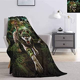 Luoiaax Fantasy World Bedding Fleece Blanket Queen Size Graphics of Fantasy Scene with Girl and Saber-Tooth Tiger Magical Plants Galaxy Comfortable Soft Warm Large Blanket W70 x L84 Inch Green