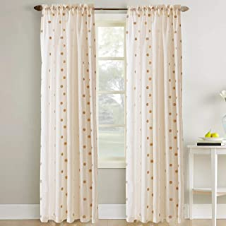 Amrapur Overseas Sheer Textured Metallic Dots Curtain Rose Gold - Set of 2