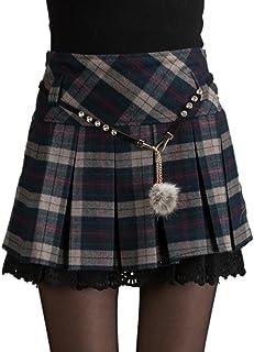EMMA La Scozia Gonna Plissé Donna Elegante Ini Inverno Alta Elasticità di Pizzo (a Doppia Catena e Belle Ragazze in Vita)