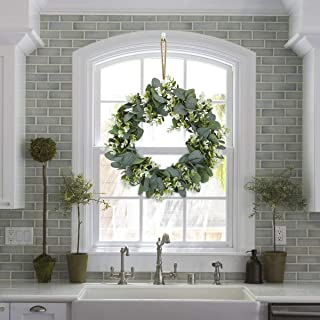 Artificial Eucalyptus Green Leaf Wreath with Cotton, Spring Summer Outdoor Ornaments for Front...