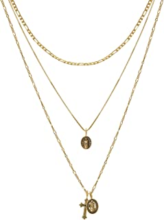 Gold Cross Pendant Necklace 14K 18K Gold Plated Figaro Box Chain Choker Valentine's Day Couples Gifts Vintage Layered Necklace for Women