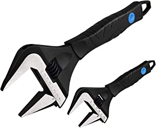 MAXPOWER Stubby Deep Jaw Wide Opening Adjustable Wrench Set, 2 Pieces Kitbag Set. Plumbing Adjustable Wrench. 6-Inch and 10-Inch in a Kitbag