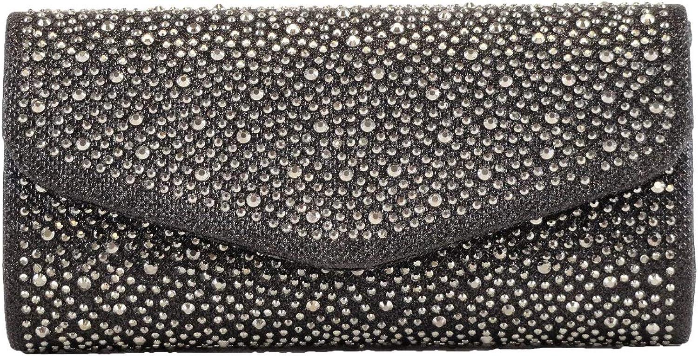 Hearty Trendy Sparkling Rhinestones Evening Clutch Bag