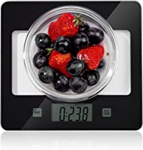 Home Gizmo Glass Kitchen Scales Digital Weight Gram, Small Postage Multifunction Accurate with Large LCD Display for Baking and Cooking, (11.02lb/5 kg), Black