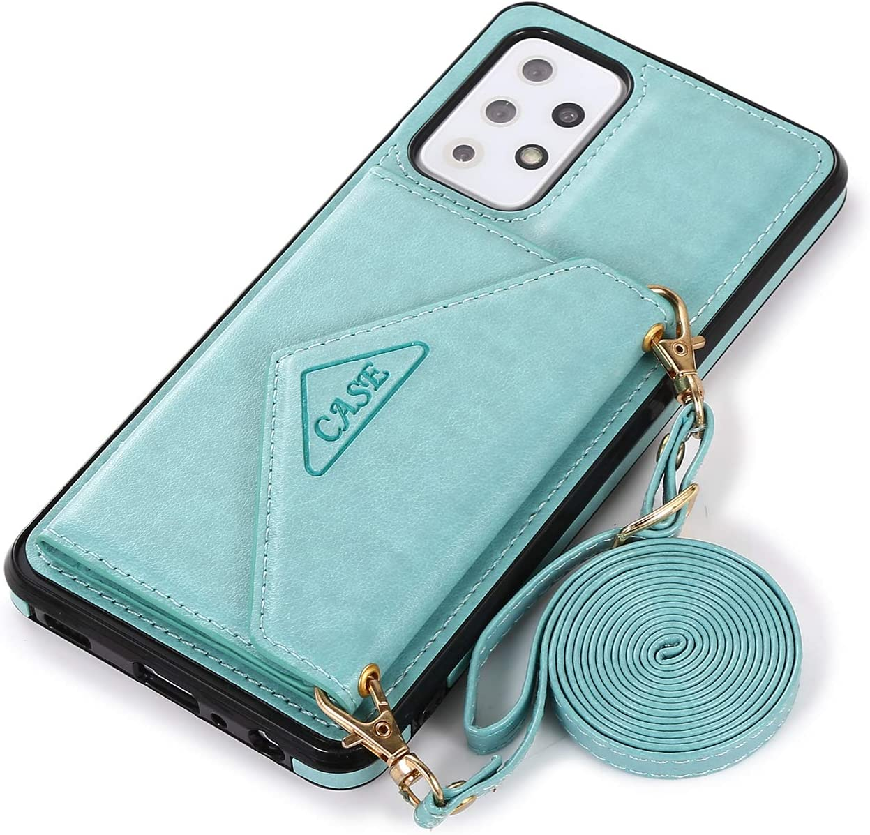 DAMONDY for Galaxy A52 Wallet Case,Galaxy A52 5G Flip Case, Slim Protective Case with Credit Card Slot Holder Flip Folio Soft PU Leather Magnetic Closure Cover for Samsung A52 5G -Mint