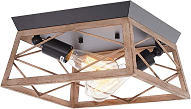 HMVPL Industrial Close to Ceiling Light Fixture, Farmhouse Flush Mount Ceiling Lamp Lighting 2-Light for Kitchen Island Dinin