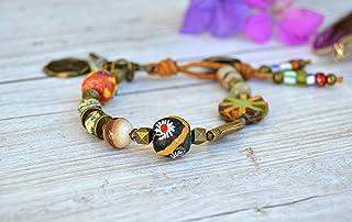 Pulsera hecha a mano para mujer con cuentas y cuero, joyas boho chic