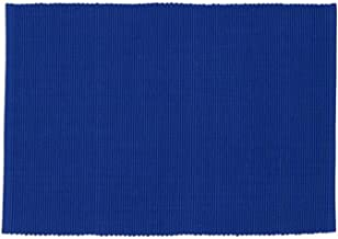 Design Imports Blue Santorini Cotton Table Linens, Placemat 13-Inch by 19-Inch, Blue Jay