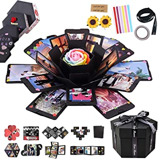 RECUTMS Explosion Box DIY Scrapbooking Set Handmade Photo Album,Gift Box with 6 Faces for Christmas Gift Wedding Memory Book (6 Sides)