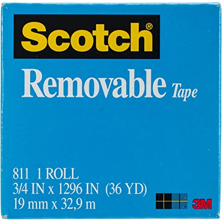3//4 x 1296 Inches 2 Rolls 3 Pack 811-2PK Invisible Boxed Non-Damaging Scotch Removable Tape Engineered for Hanging