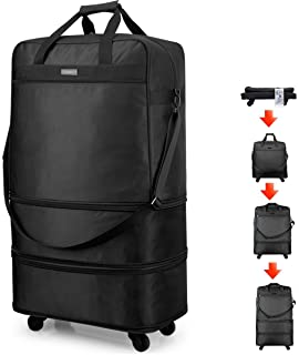 Hanke Expandable Foldable Luggage Suitcase Ripstop Rolling Travel Bag Lightweight Collapsible Luggage 20/24/28 inch Withou...