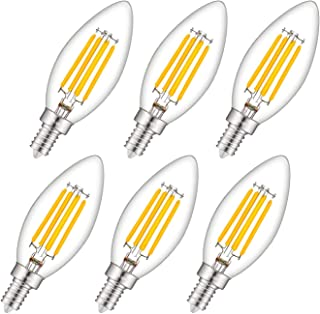 CRLight 3000K Dimmable LED Candelabra Bulb 4W Soft White, 40W Equivalent 400LM E12 Base LED Chandelier Bulbs, B11 Clear Glass Candle Torpedo Shape, 360 Degree Beam Angle, 6 Pack