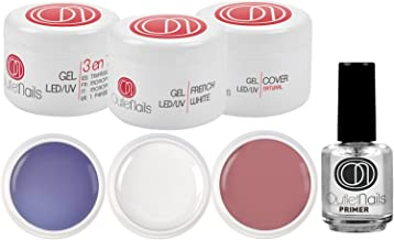 Pack 3 Geles UV/Led de 15ml + Primer 15ml para uñas de gel / 1 x UV Gel 3 en 1 Trifasico + 1 x UV Gel French Blanco + 1 Gel UV Cover Natural + 1 Primer