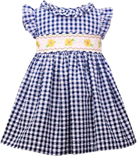 Navy Gingham Spring Dress with Daisy Flower Smocking