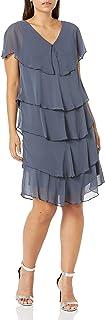 فستان طبقات بأطراف مطرزة للنساء من S.L. Fashions