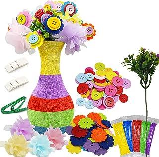 Motiloo Creates Your Own Vase and Felt Flower Set, Fun Kids Crafts Arts,DIY Set Craft Vase Snowflake Mud Button Party Acti...