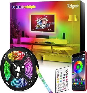Tira LED TV, 3.5M para TV de 46-65 pulgadas, Mirror, PC, Control de mñusica e iluminación a través de APP, Tira de luz 505...