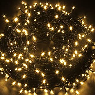 STARSHINE 29V 105FT/30M 300 LED String Fairy Lights with 8 Modes for Patio, Backyard, Garden, Wedding, Christmas Party, Outdoor and Indoor Decoration, Warm White, Dark Green Wire, UL Certificated