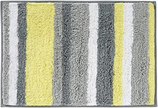 HEBE Microfiber Bathroom Rugs Non-Slip Striped Bath Mats Rug for Bathroom Absorbent Step Out Shower Accent Rugs Machine Washable(18x26, Yellow/Grey)