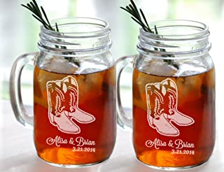 Set of 2 Cowboy Boot Wedding Personalized Mugs Mason Jar Glasses Wedding Party Country Western Barn Wedding Bridesmaid Groomsmen Gifts Favors