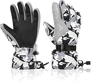 Ski Gloves, 100% Waterproof 3M Thinsulate Warm Snow Gloves for Mens Womens and Kids