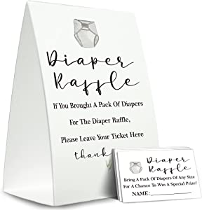 Diaper Raffle Sign,Diaper Raffle Baby Shower Game Kit (1 Standing Sign + 50 Guessing Cards),Baby Showers Decorations,Card for Baby Shower Game to Bring a Pack of Diapers-N04