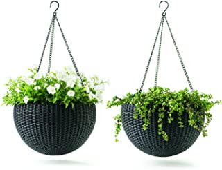 Keter Resin Rattan Set of 2 Round Hanging Planter Baskets for Indoor and Outdoor Plants-Perfect for Porches and Patio Deco...