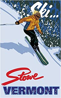 Ski Stowe Vermont Downhill Modern Girl Travel Art Print Poster by Paul A. Lanquist (12
