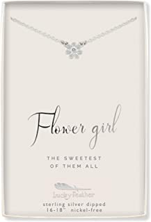 Flower Girl Gifts - Flower Girl Necklace in Sterling Silver with Crystal Accent Stone and Adjustable Chain