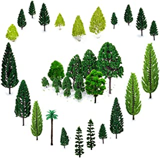 Best OrgMemory 29pcs Mixed Model Trees, 1.5-6 inch(4 -16 cm), Ho Scale Trees, Diorama Trees, Model Train Scenery, Plastic Trees for Projects, Woodland Scenics Trees with No Bases Review