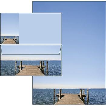 Motivpapier Komplett-Set MARMOR BLAU 10 Blatt Briefpapier 10 passende Briefumschl/äge DIN LANG ohne Fenster 20-tlg