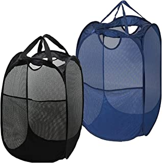 Strong Mesh Pop-up Laundry Hamper, Quality Laundry Basket with Durable Handles Solid Bottom High Carbon Steel Frame, Easy to Open and Fold Flat for Storage, Odors & Moisture Proof (Black+Navy Blue)