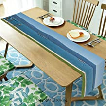 Landscape Table Runner for Farmhouse Dining Coffee Table Decorative,Architecture Outdoor Terrace by The Lake with Green Garden Sail Boats Leisure 16