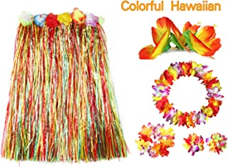 BigLion 6 Stück Hawaii Party Kostüm Set, Tropical Hawaiian Flower Leis Hula Luau Grass Dance Rock Hibiskus Blumen Haarspangen Haar Clips Armbänder Stirnband Halskette Girlande für Beach Party Favors