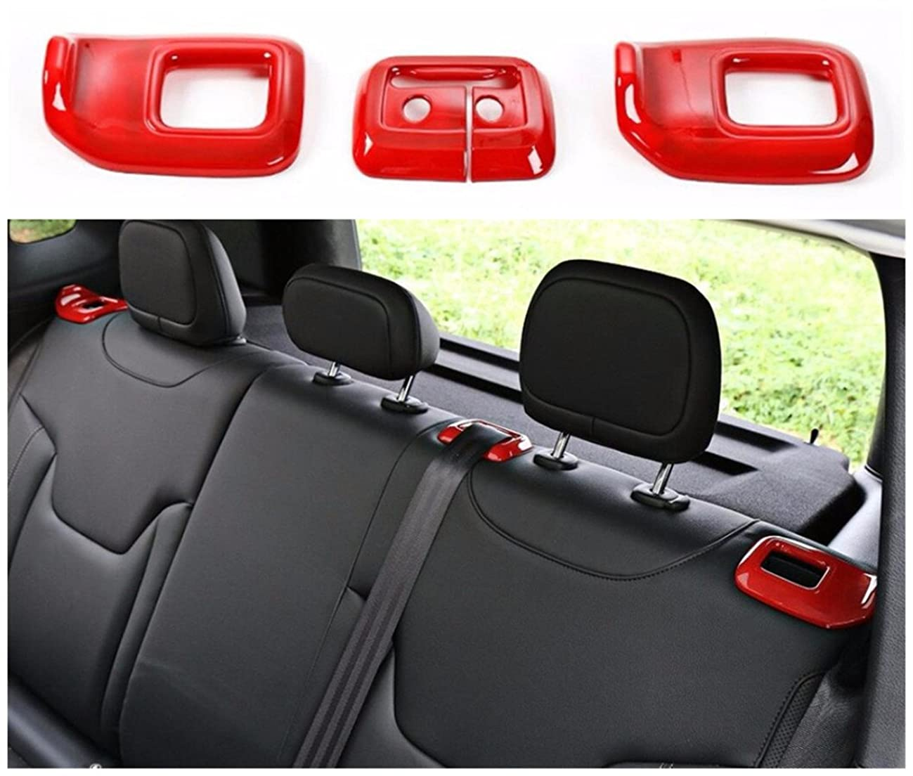 FMtoppeak Red Interior Kits ABS Rear Tail Seats Safety Belt Trim Cover for Jeep Renegade 2014 UP