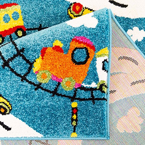 Planes in Turquoise Size 80 x 150 cm Railways carpet city Moda Kids Flat Pile Rug with Cars Roads