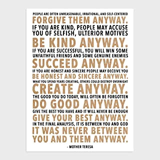 wallsthatspeak Mother Teresa Home Decor Print, Unframed Inspirational Quote Decorations (12