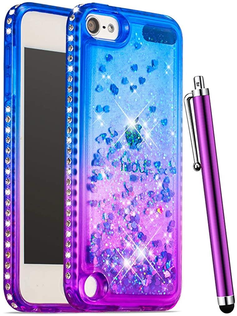 CAIYUNL for iPod Touch 6 Case for Girls,iPod Touch 5 Case Glitter Liquid Quicksand Sparkle Bling Rhinestone Cute Portective Cases Women Kids Cover for Apple iPod Touch 6th / 5th Generation-Blue/Purple