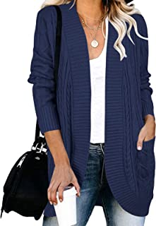 Women's Long Sleeve Cable Knit Cardigans Open Front Loose...