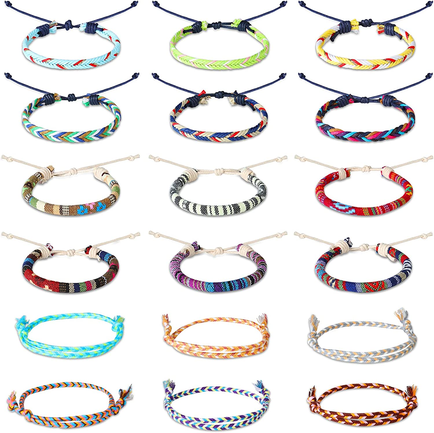 18 Pieces Adjustable Max 86% OFF Braided Surfer Topics on TV Thin Bracelets Boho Ank Rope
