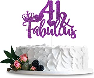 Purple Glittery 41 & Fabulous Cake Topper, Happy 41st Birthday Cake Decor, Cheers to 41 Years Party Decorations Supplies (...