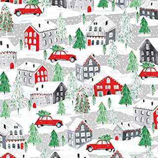 Small Town Christmas Wrapping Paper, 2 Feet x 20 Feet Rolled Christmas Gift Wrap with Snow-Covered Houses and Cars, WRAP & Revel® R