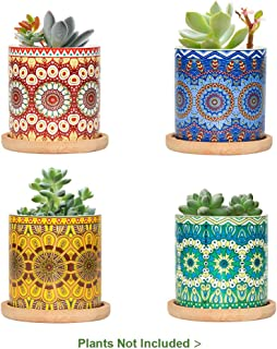 FairyLavie 3 Inch Ceramic Small Plant Pots, Mandala Pattern Succulent Plant Pot Planter Flower Pot with Bamboo Tray, Perfect for Home Office Decor and Ideal Gift for Family Friends Colleague, Set of 4