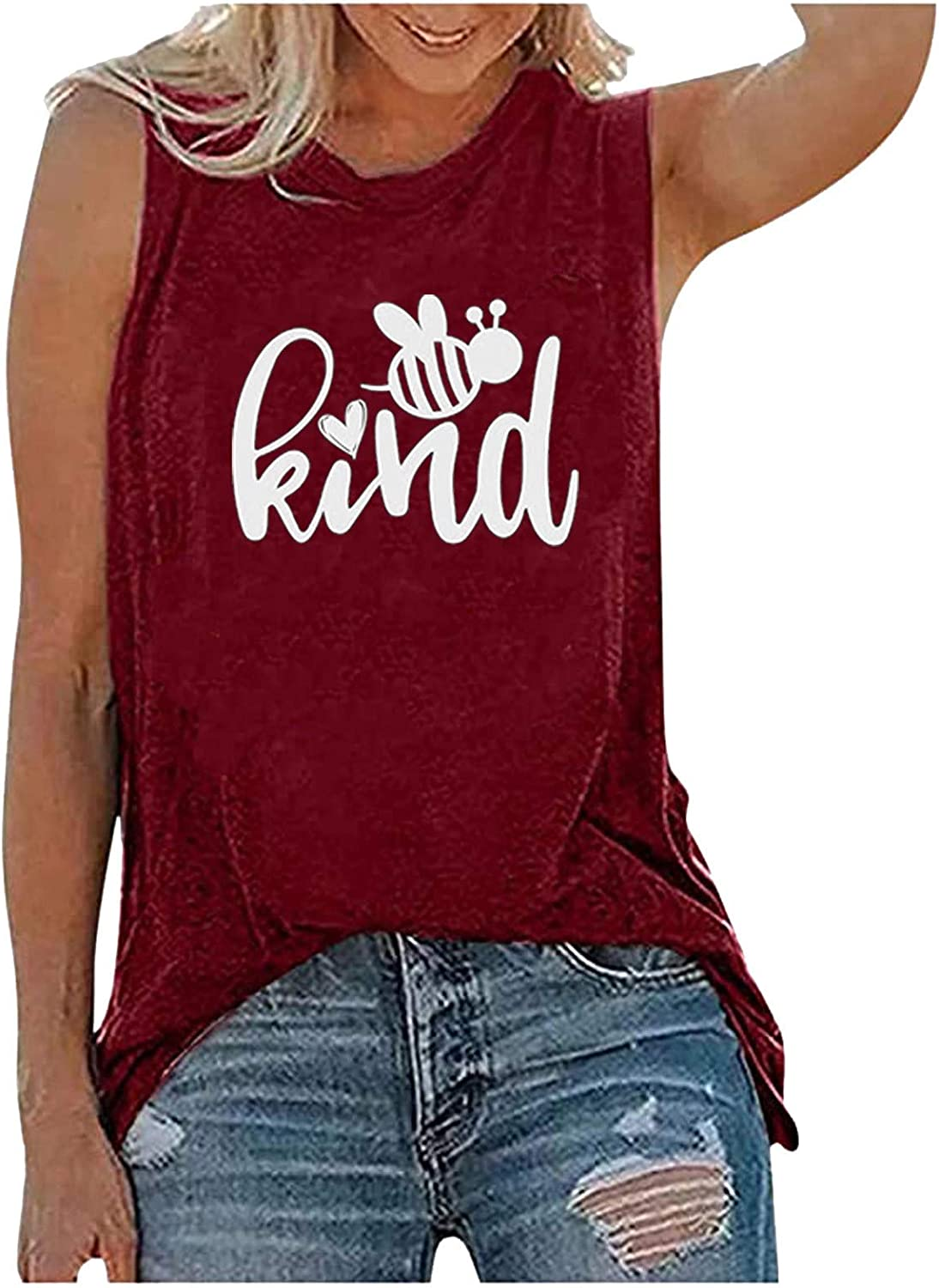 Cute Graphic Cami Tank Tops for Women Bee Kind Shirts O Neck Sleeveless Loose Fit Vest Tops