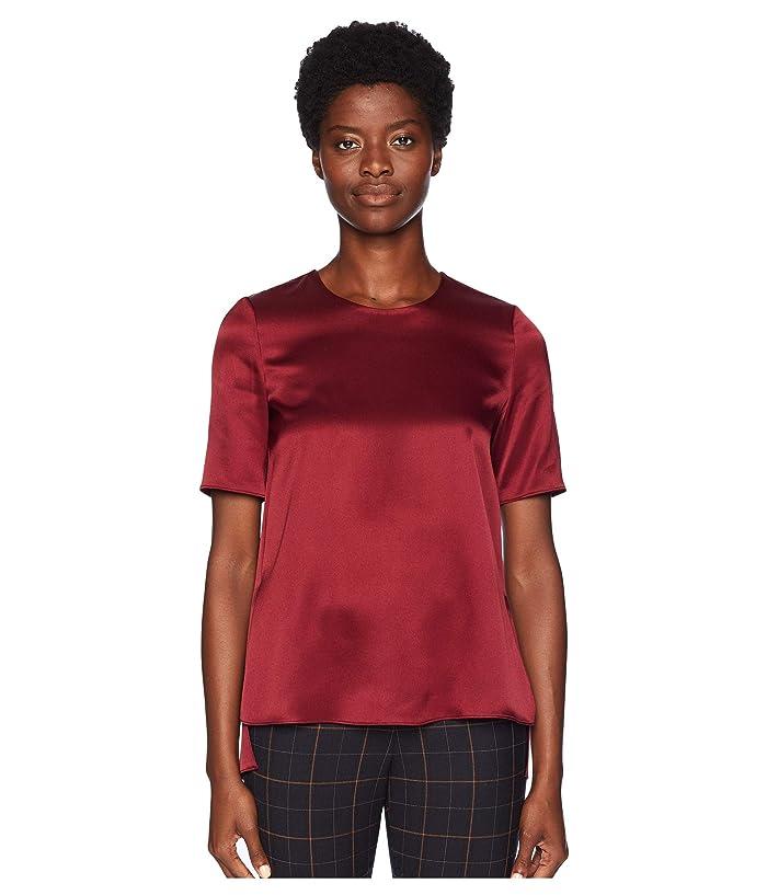 Adam Lippes Silk Charmeuse Short Sleeve T-Shirt (Burgundy) Women's T Shirt