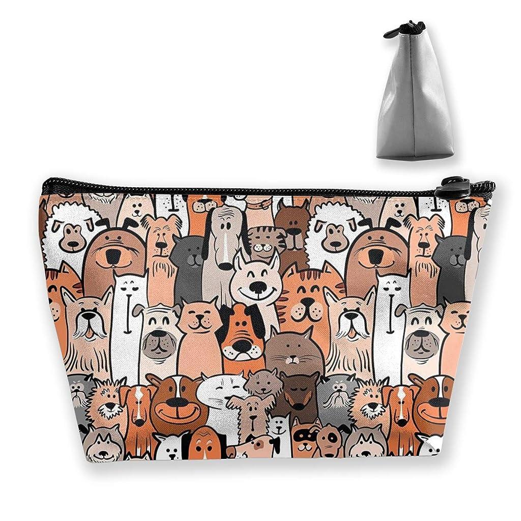 多年生船リストSzsgqkj 犬と猫のシームレスなパターンを落書き 化粧品袋の携帯用旅行構造の袋の洗面用品の主催者