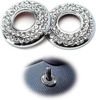 iJDMTOY (2) Bling Crystal Decor Alloy Door Lock Knob Ring Covers For MINI Cooper R55 R56 R57 R58 R59 R60, etc