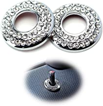 iJDMTOY (2) Bling Crystal Decor Alloy Door Lock Knob Ring Covers For MINI Cooper R55 R56 R57 R58 R59 R60, etc