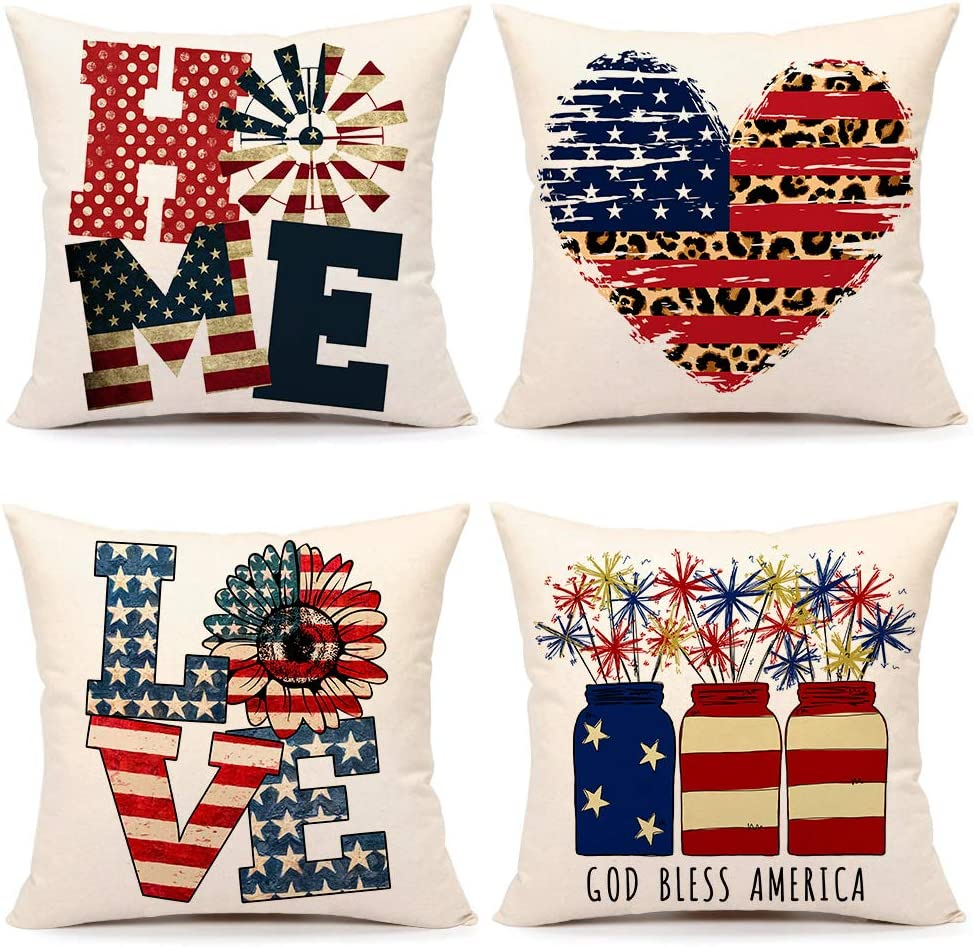 4th of July Philadelphia Mall Decorations Pillow Covers Cash special price 4 Set 18x18 Independenc